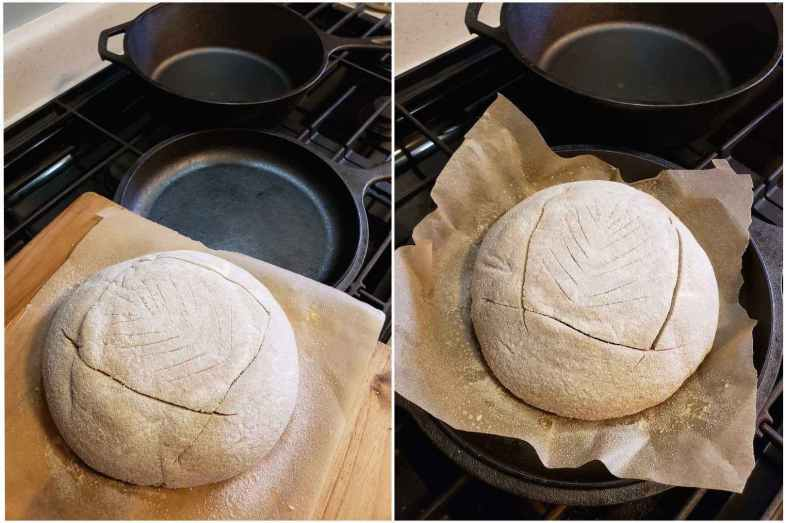 A two way image collage, the first image shows the unbaked loaf of bread sitting on a piece of parchment paper, on top of a cutting board. The loaf has just been floured and scored and is ready to be placed in the combo cooker which is resting just behind the poised loaf, on top of the stove. The second image shows the same image as before, yet the loaf and parchment paper are now sitting in the bottom of the combo cooker, the lid just needs to be placed on top before baking it in the oven.