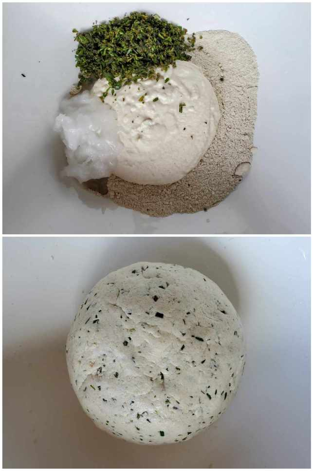 Two part image collage, the first image shows all of the ingredients for the gluten-free sourdough crackers sitting inside of the mixing bowl. Flour, sourdough starter, chopped herbs, and coconut oil are visible. The second image shows the dough ball after the ingredients have been mixed. Flakes of chopped herbs are visible throughout the dough ball.