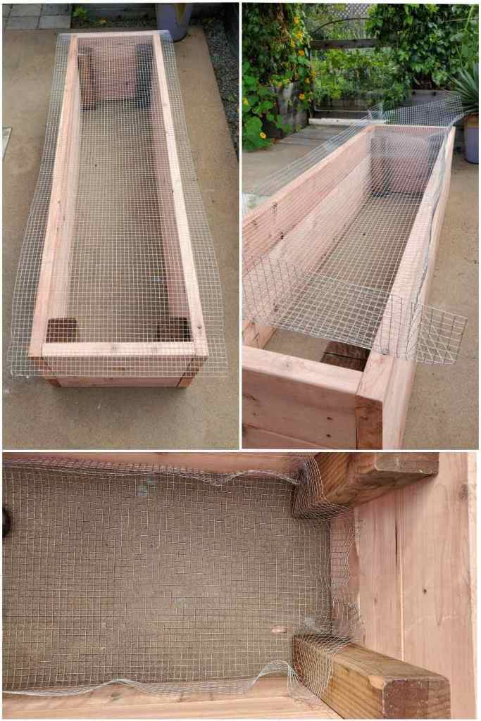 A three part image collage, the first image shows a raised garden bed with a section of hardware cloth covering the top of it. The second image shows the hardware cloth bent upwards at the edges so it will fit inside the bed. The third image shows the hardware cloth pushed down into the bottom of the bed, the sides of the hardware cloth are bent upwards, creating a four inch liner around the inside of the bed.