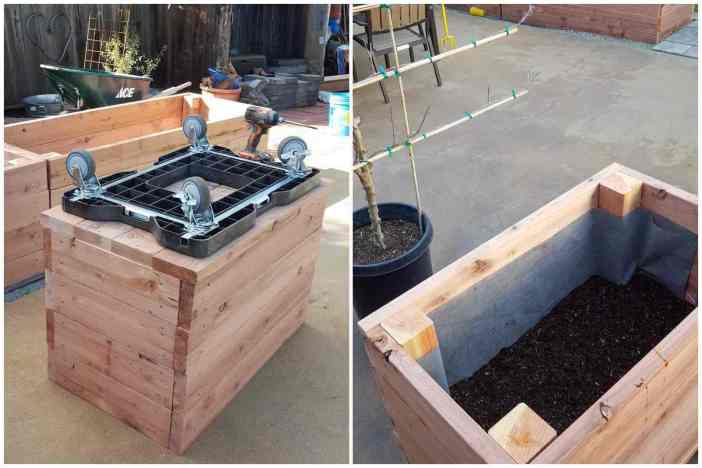 A two part collage, the first image shows a newly made wooden planter that is at least 3x2 feet tall and wide flipped upside down with a moving dolly placed on the bottom. The secon image shows the the planter box flipped right side up, it has been lined with weed fabric to keep the soil inside the planter box and it is filled halfway with soil.