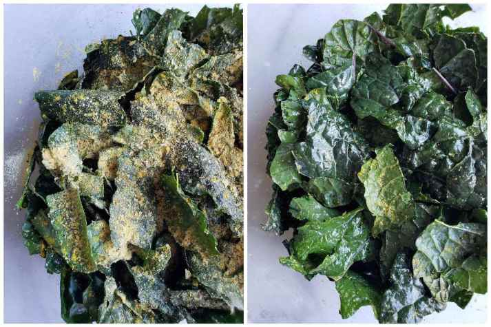 A two part image collage. The first image shows the greens after they have been seasoned with spices. The second image shows the greens after they have been seasoned and tossed with tongs to thoroughly mix.
