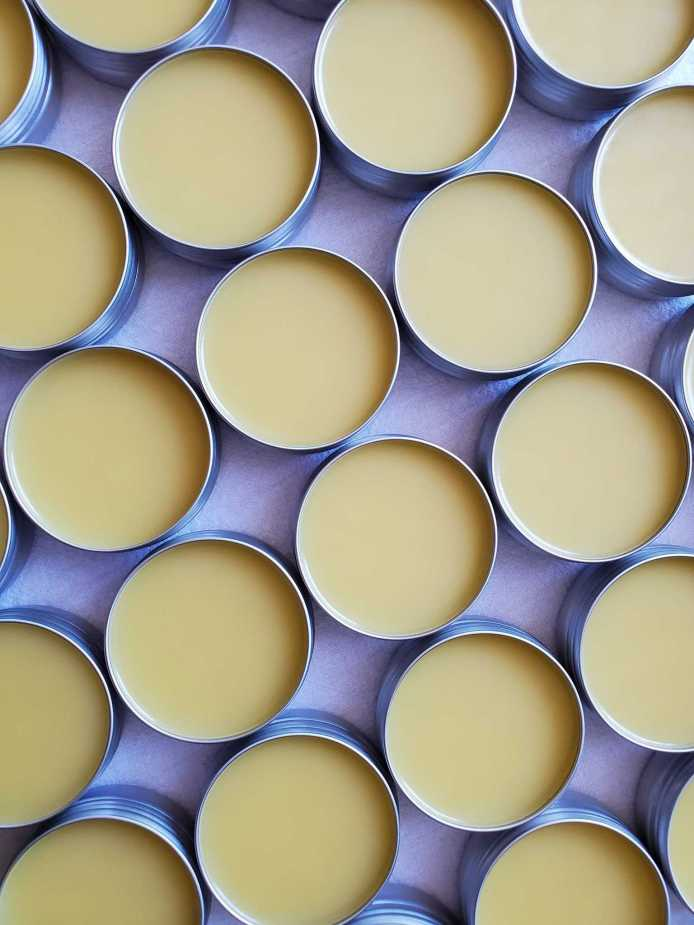Many tins full of homemade lavender salve with their lids off are lined up like closely placed polka dots. The salve is a creamy light yellow color.