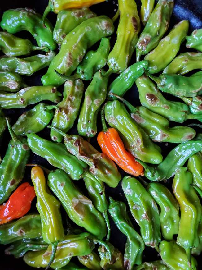 A close up image of the peppers as they continue to cook and blister. Parts of the chilis are turning light brown to dark brown while the green portion of the chilis turn to a more olive green as opposed to the stark dark green that they were fresh.