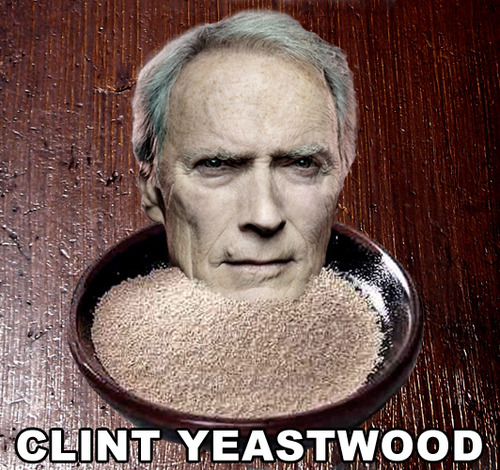 The face of Clint Eastwood is emanating from a bowl of flour. Below the bowl lies the name Clint Yeastwood superimposed on the image as a name pun.