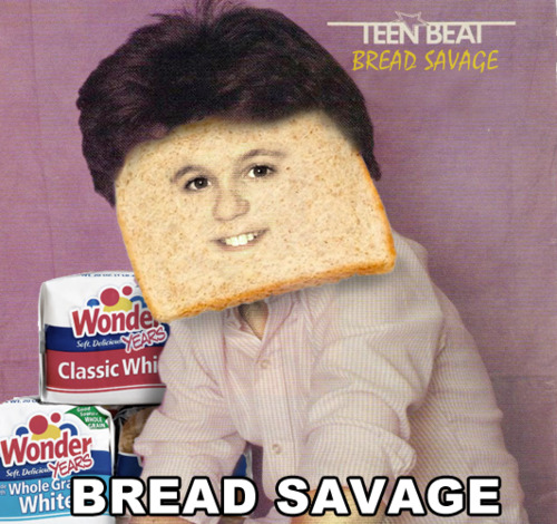 """The cover of an issue of Teen Beat magazine is shown that has Fred Savage on the cover, although the face of Fred has a slice of bread superimposed onto it as his face. There are two loaves of """"Wonder Years"""" bread next to him and the bottom of the image has the name Bread Savage superimposed onto it."""