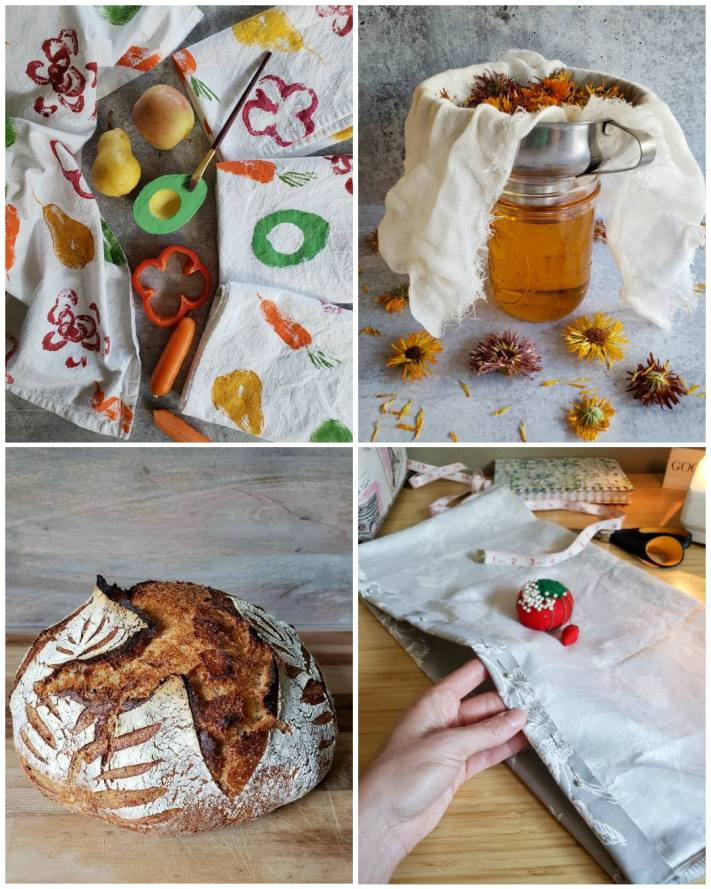 A four way image collage, the first image shows completed fruit and vegetable stamp tea towels. There is half an avocado that has green paint on its flesh side, there are various other fruits and vegetables nearby amongst the tea towels. The second image shows a pint jar of calendula oil that has been strained of its flowers. There is a canning funnel on top of the jar with a few layers of cheesecloth lined inside. The calendula flowers that were immersed in the oil are now billowing over the top of the funnel as they have been strained out. There are a few yellow and purple dried calendula flowers scattered around the jar. The third image shows a loaf of crusty sourdough bread, many shades of brown from light to dark adorn the outer shell along with some white flour that was used to dust the loaf before it was scored and baked. The fourth image shows DeannaCat holding a portion of a rice pack that is in the process of being sewn together. There are various needles placed throughout one side to create a seam. Doing creative tasks is a great way to reduce stress in ones life.