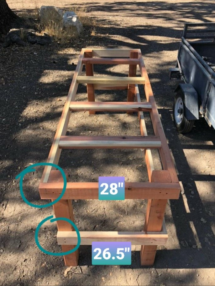 A greenhouse that is almost fully constructed. The frame and supports are fully attached, the only step remaining is to attach the finishing planks to the top of the frame to create the top of the bench.  Two circles with dimensions are superimposed on the image at the top corner of the bench and the bottom support beam to show how they may differ in dimensions to make the attachments flush. Build a greenhouse bench even if you don't have a greenhouse to better display potted plants.