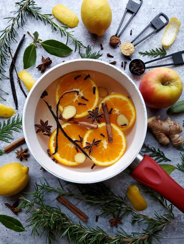 A saucepan sitting on washed concrete surface is partway full of water with four slices of oranges, whole cinnamon sticks, whole vanilla bean, whole start anise and clove with slices of ginger mixed in. Surrounding the pot lie various fruits and herbs such as apple, ginger, rosemary, cinnamon sticks, whole clove, star anise, lemons, and bay leaves.