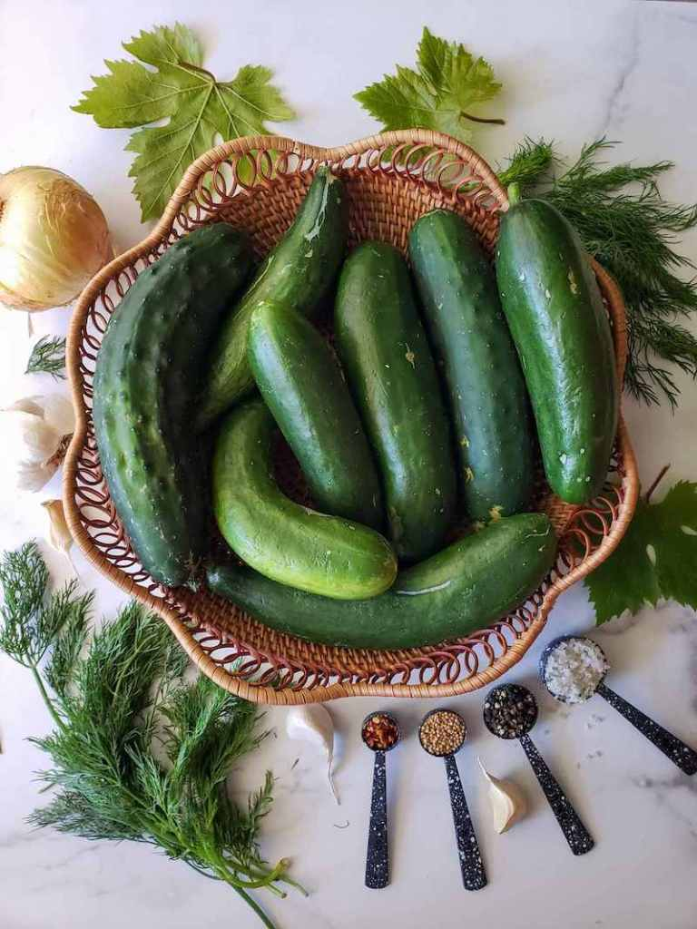 A wicker basket with eight medium to large cucumbers is surrounded by fresh sprigs of dill, grape leaves, garlic cloves, a yellow onion, and various teaspoon to tablespoon measurements of red chili flakes, mustard seed, peppercorns, and grey salt. All of these make up the bulk ingredients of refrigerator pickles.