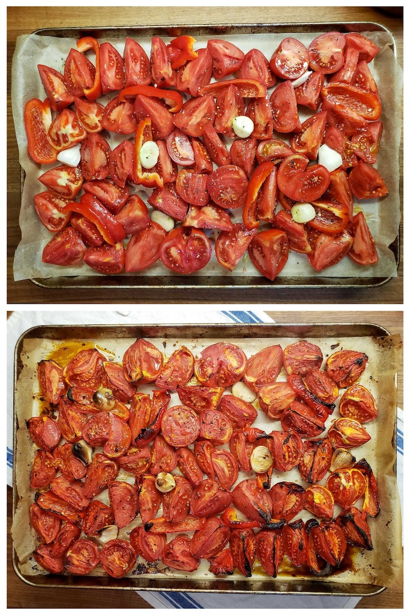 A two part image collage, the first image shows a parchment paper lined baking sheet full of fresh halved and quartered tomatoes, garlic, and slices of red bell pepper. The second image shows the same ingredients after they have been roasted in the oven. Edges of the ingredients have turned slightly brown and even black in some spots. They have slightly shrunk in size and withered due to the roasting.