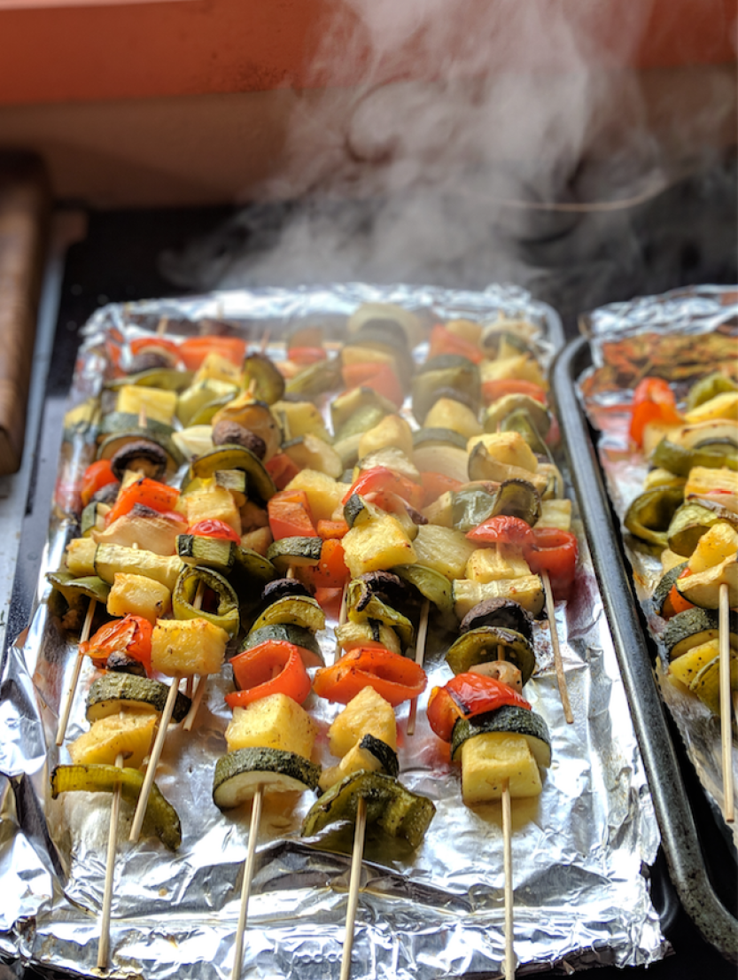 marinated veggie kabobs cooked in oven at home recipe no grill kabobs cook on a sheet pan at home