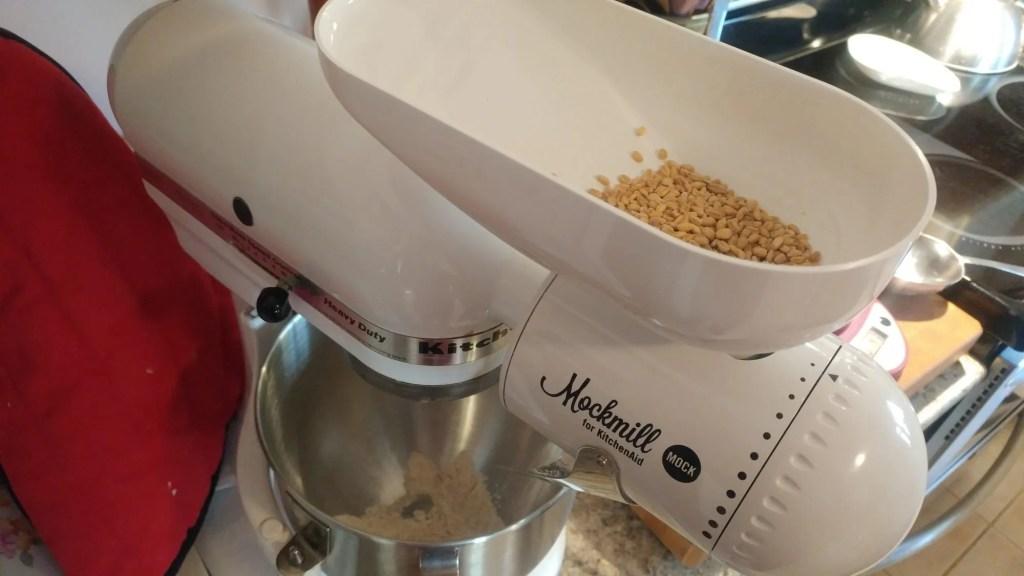 mockmill grain mill attachment on a kitchen aid