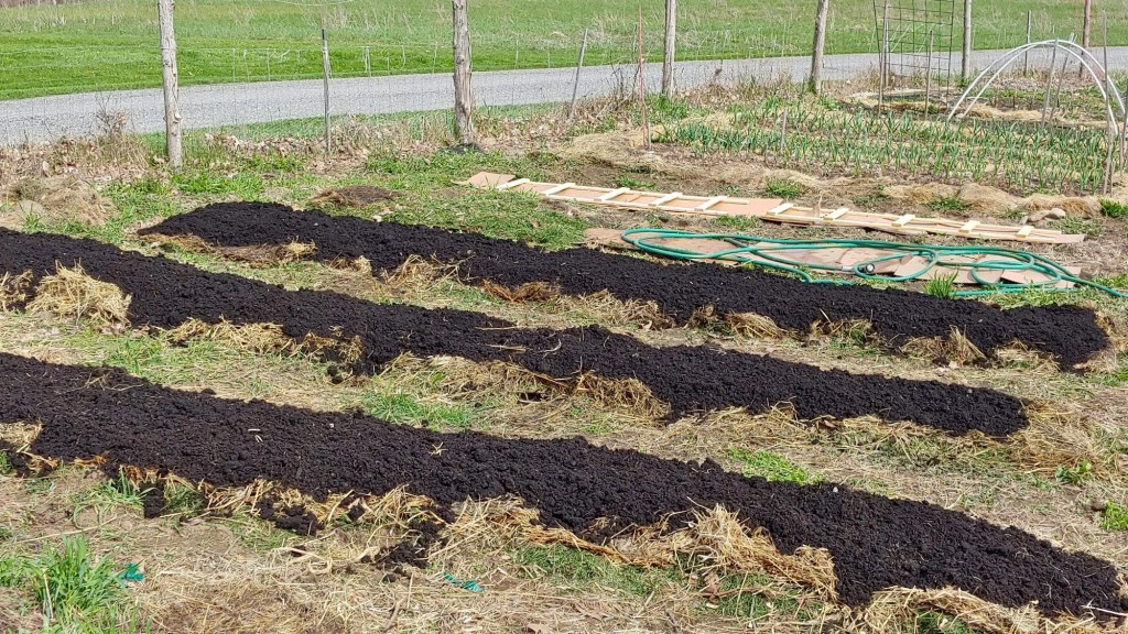 hay and compost layers of sheet mulch