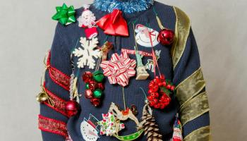 boy wearing ugly homemade sweater | DIY Ugly Christmas Sweaters | DIY ugly christmas sweaters | ugly sweater ideas for christmas parties | Featured