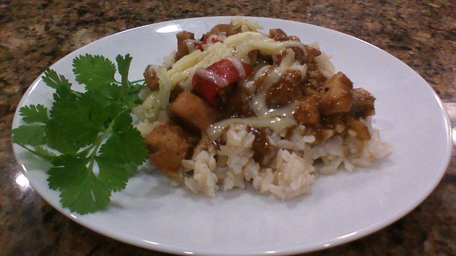 Enchiladas over rice
