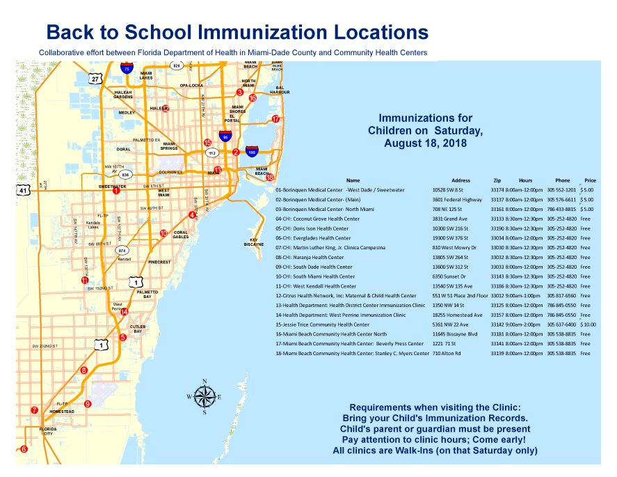 Back to School Immunization Locations