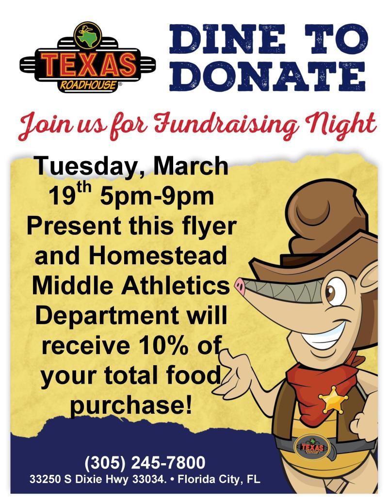 Athletics Fundraiser Texas Roadhouse Flyer