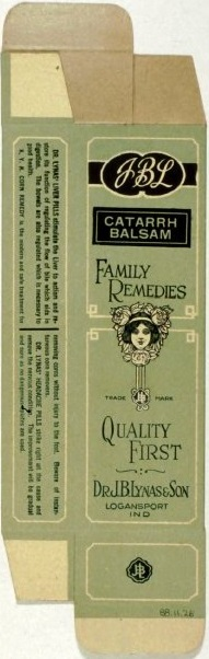 Catarrah Balsam, manufactured by Dr. J.B. Lynas & Son, Logansport, IN, 1920s.