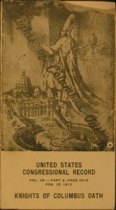 "Pamphlet, ""Knights of Columbus Oath,"" ca. 1960 reprint of 1912 original. From the Homestead Museum collection."