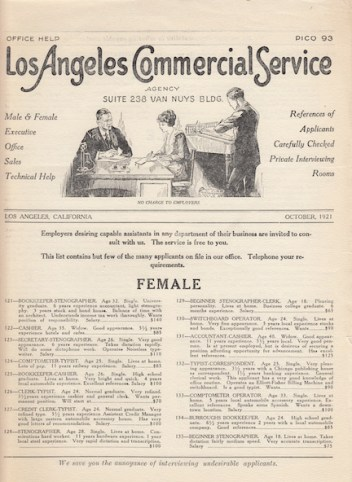 Bulletin with resumes listed, 1921.