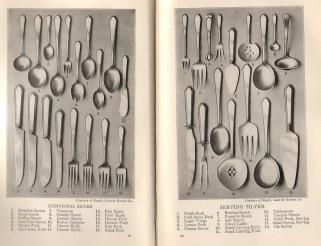 Silverware utensil types from The Modern Hostess, 1929.