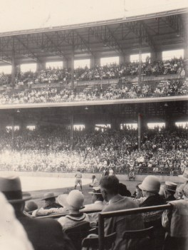 A well-attended Angeles game at Wrigley Field in South Los Angeles. Today, baseball fans can still get this close to the field of play at a minor league game. From the Homestead Museum Collection.