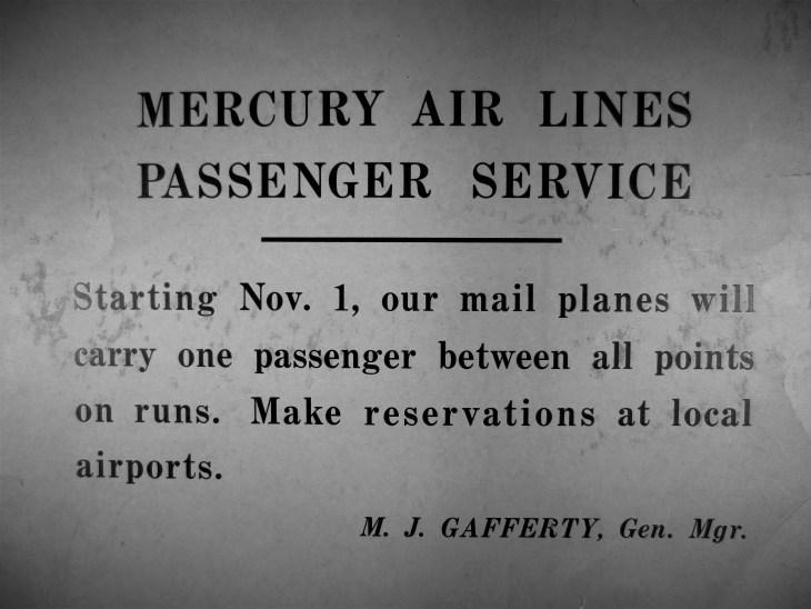 Mercury Air Lines placard