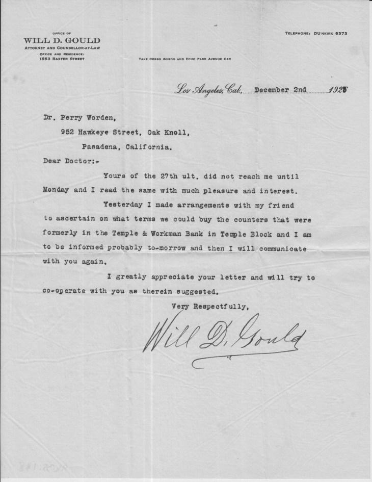 Gould to Worden 2 Dec 1925