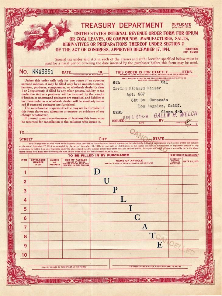 Harrison Act drug order form 1928