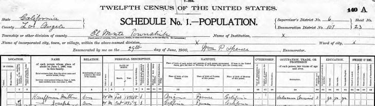 Joseph Kauffman 1900 census