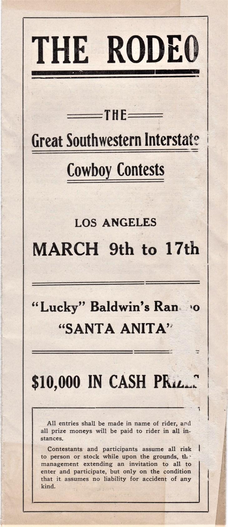 Rodeo Baldwin Santa Anita 1912 cover