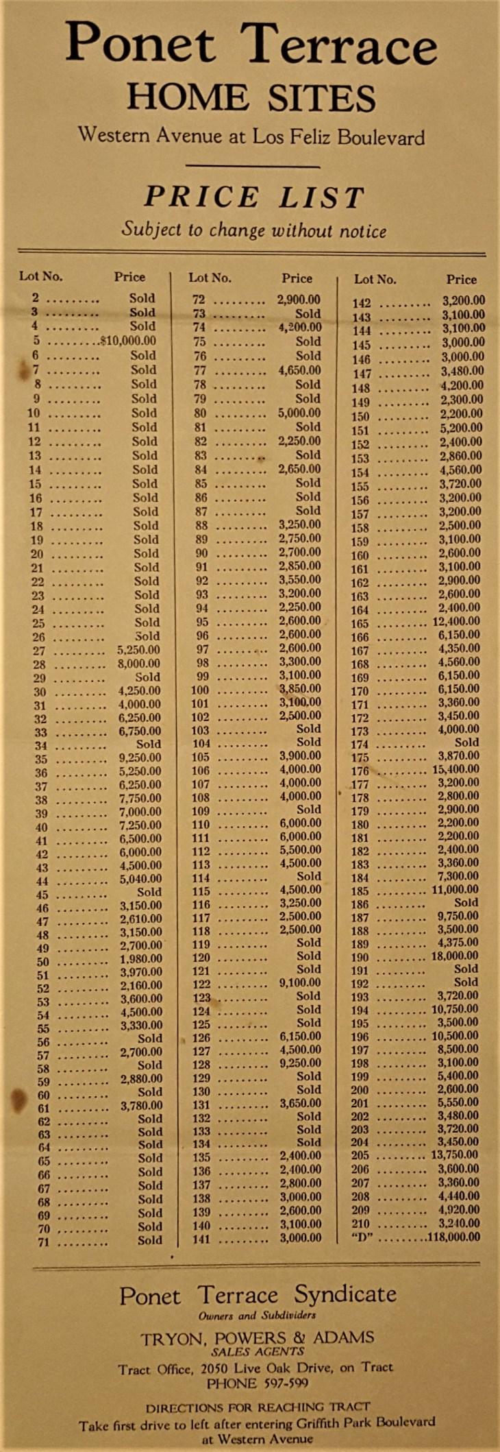 Ponet Terrace price list