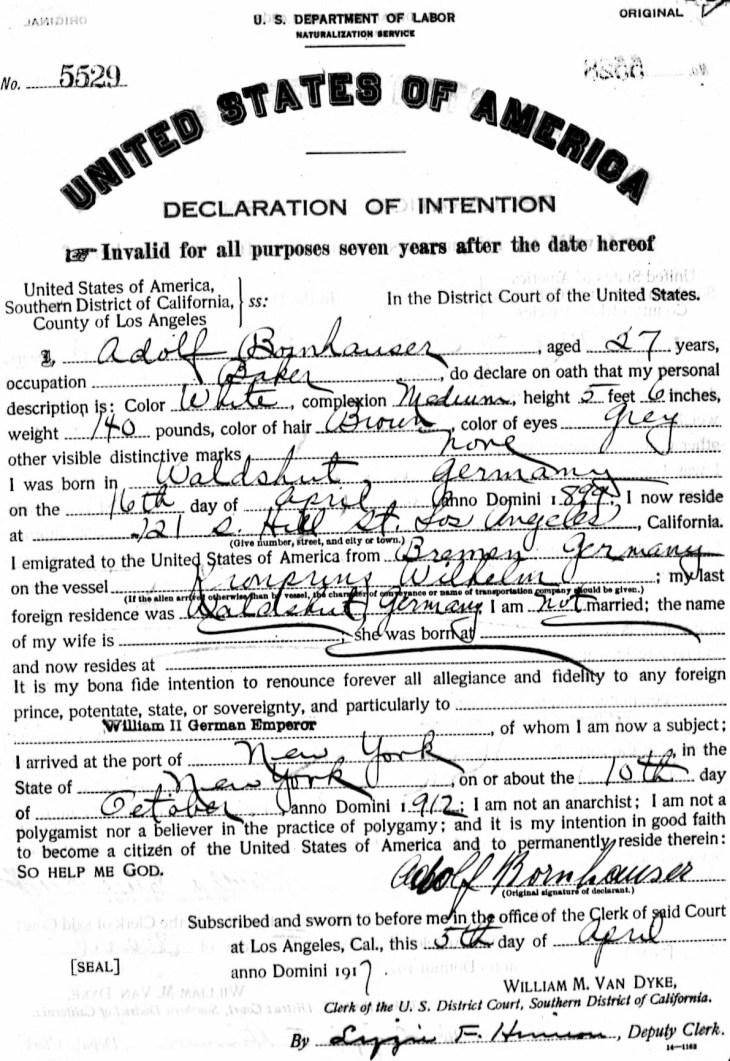 Declaration of Intention 5Apr17