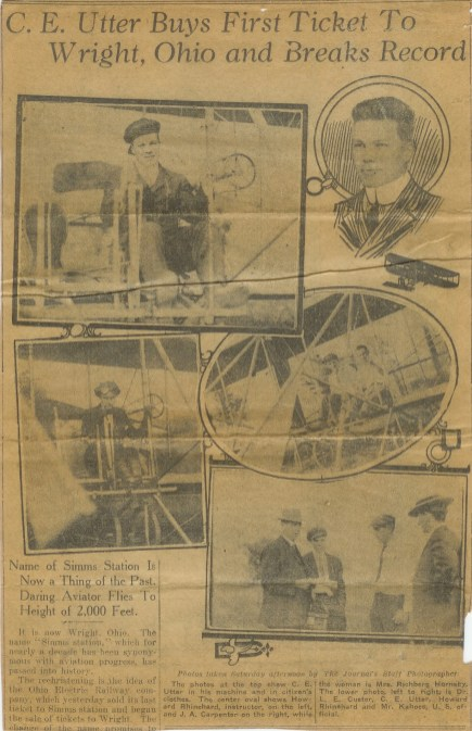 A newspaper feature on Chester Utter, Patrick's grandfather, who broke the school's altitude record.