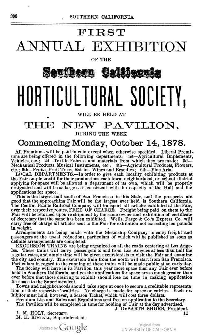 Horticulural Pavilion ad