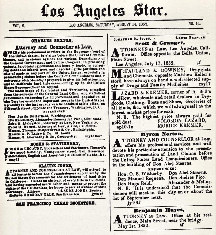 LA Star ads lawyers 1852