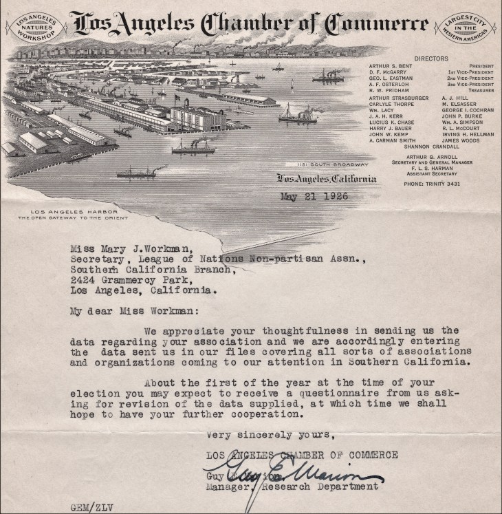 League of Nations Non Partisan Assn letter 21May1926