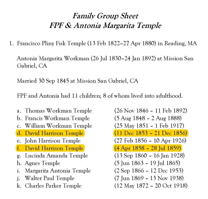 Temple Family Group Sheet
