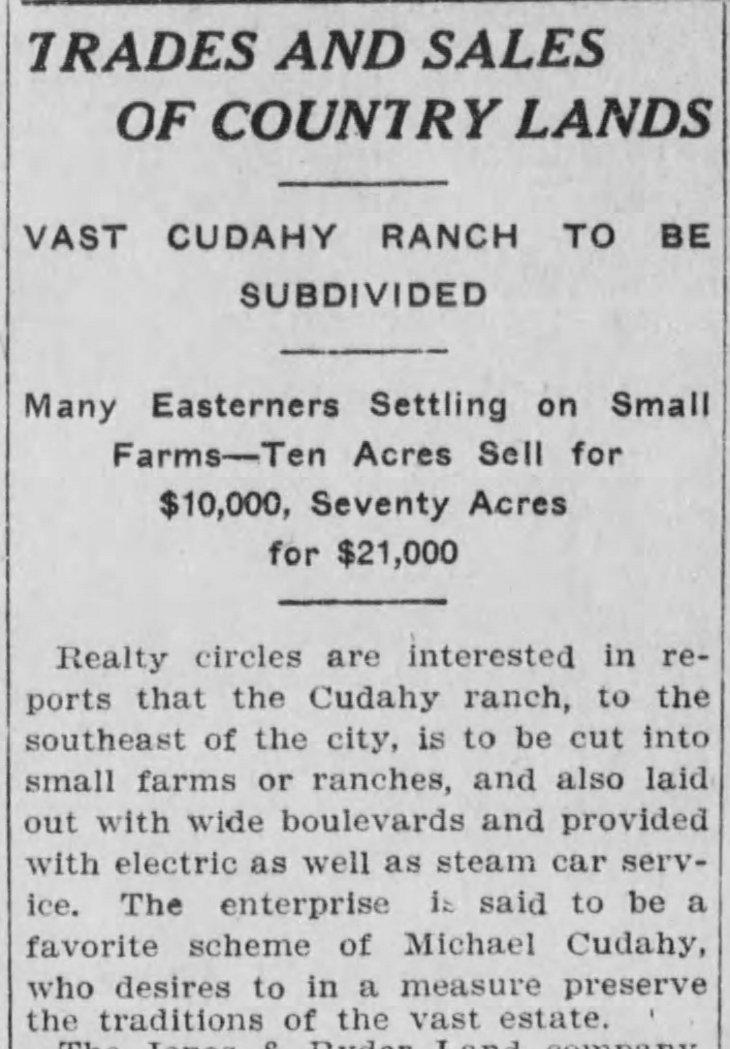 Cudahy Ranch sale article LA_Herald_Mar_15__1908_