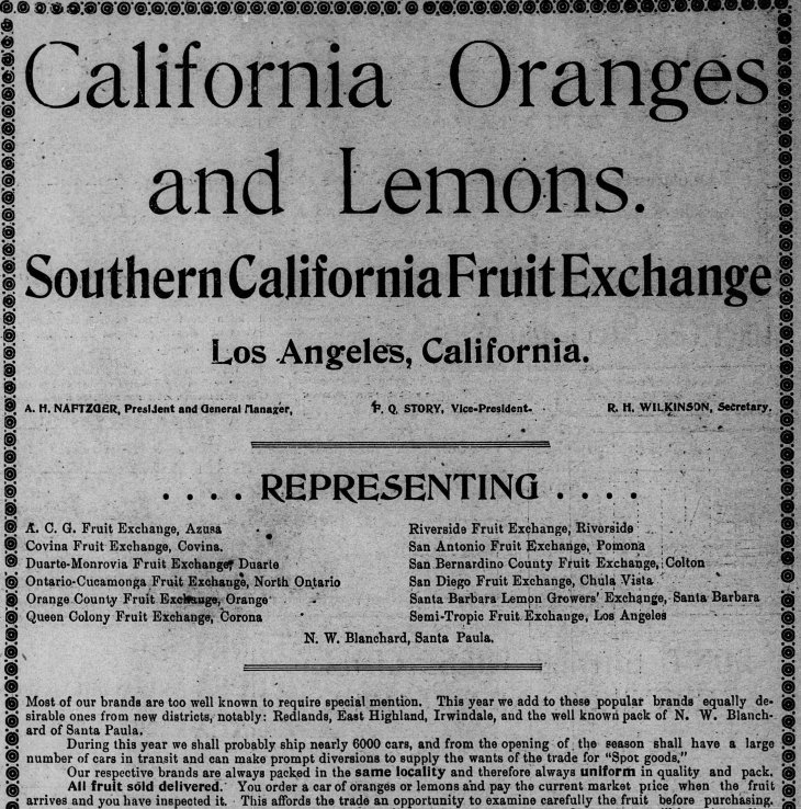 SC Fruit Exchange ad LA_Times_Jan_1__1900_