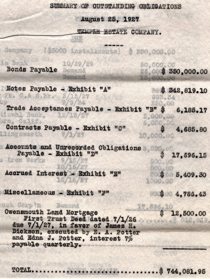 Temple Estate Company liabilities 25Aug27 p1