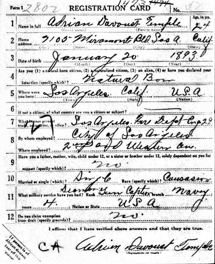 Adrian D. Temple WWI registration