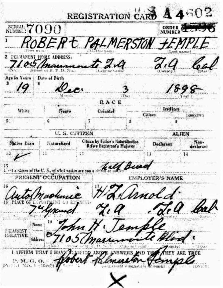 Robert P. Temple WWI Registration