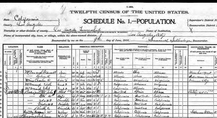 Biscailuz 1900 census