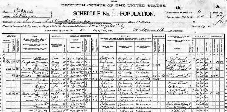 Owens 1900 census LA