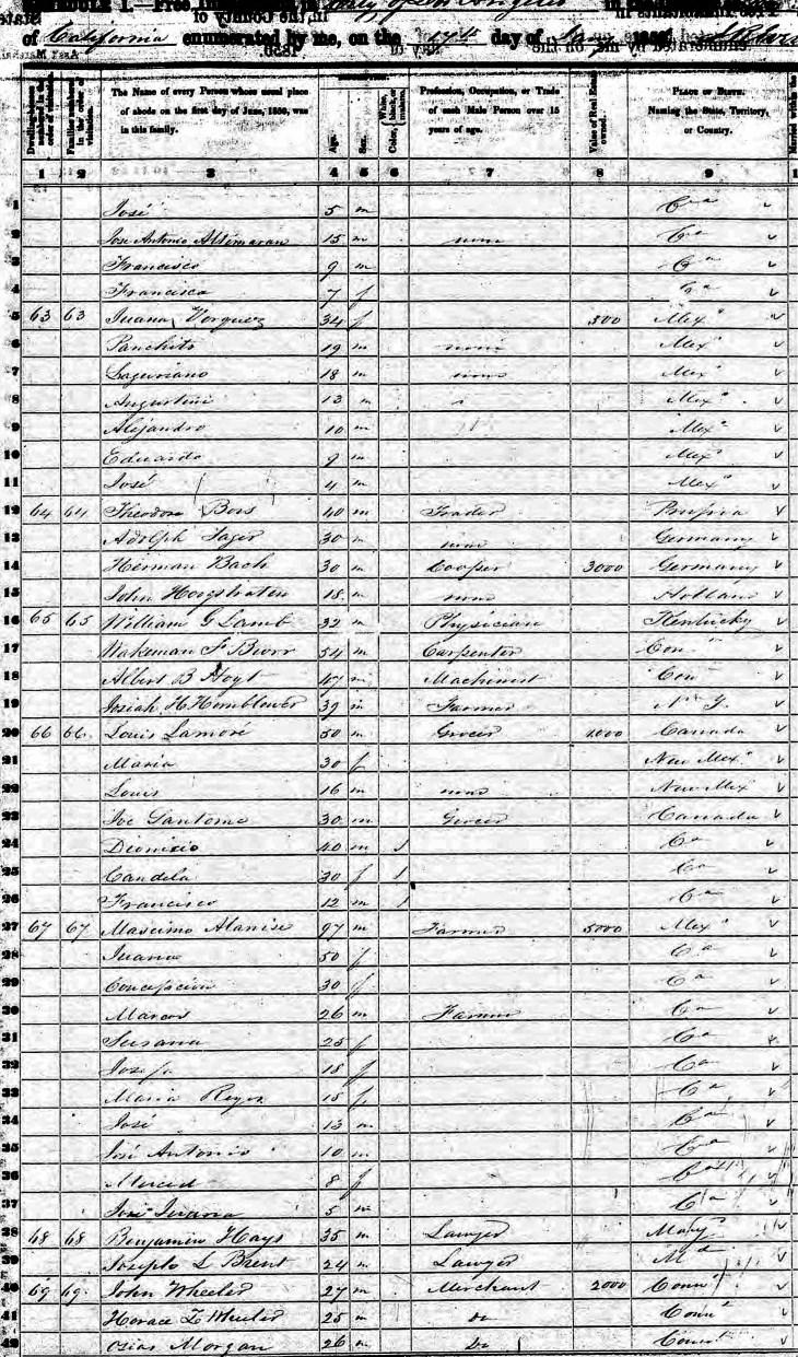 hayes 1850 census