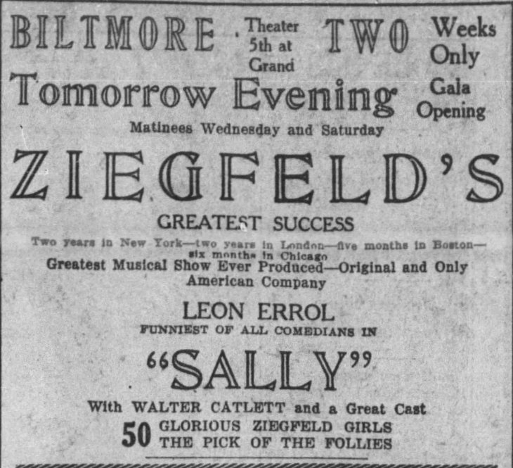 Bilmore opening ad Times_Mar_2__1924_