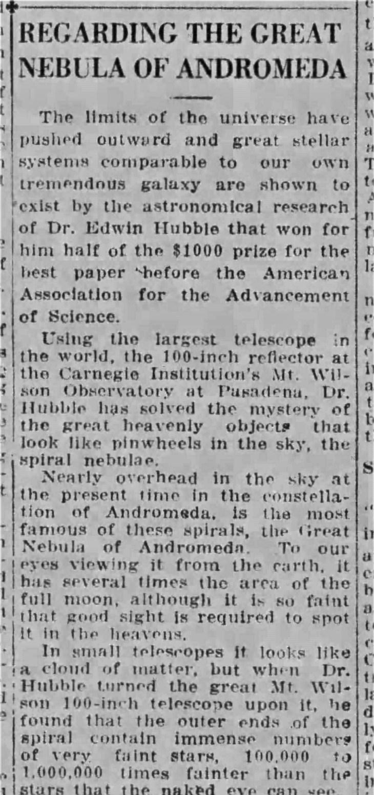Hubble Andromeda Times_Mar_14__1925_