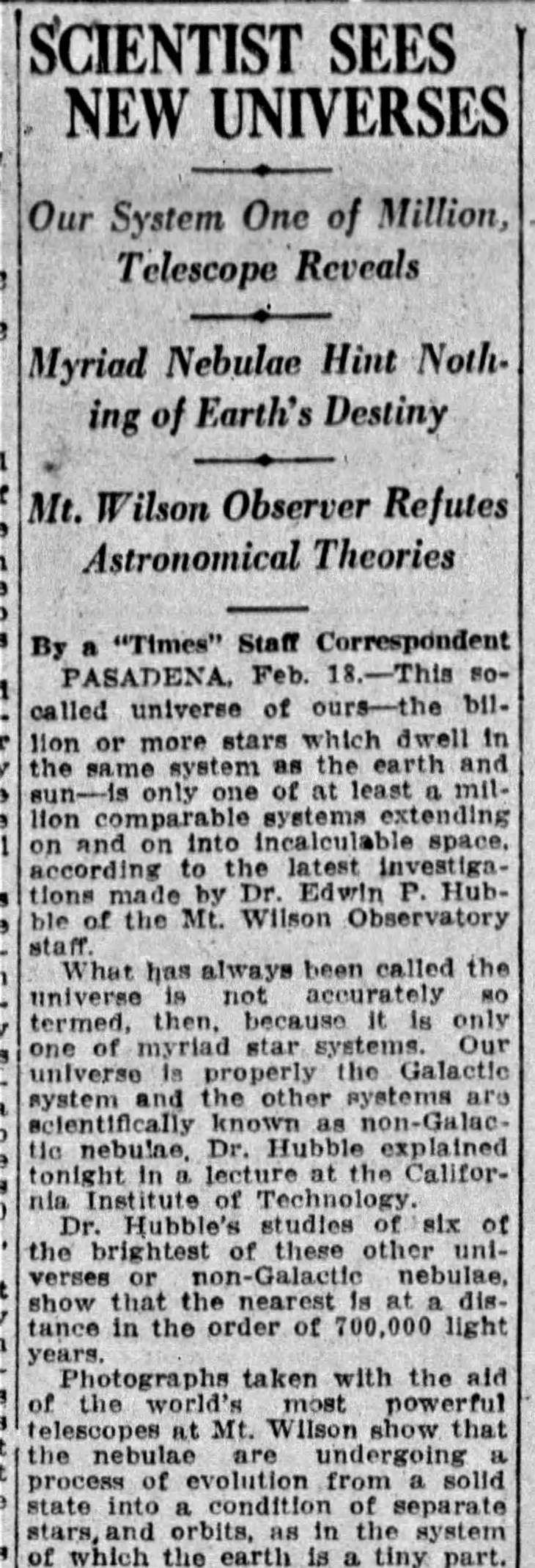 Hubble New Universes Times_Feb_19__1926_