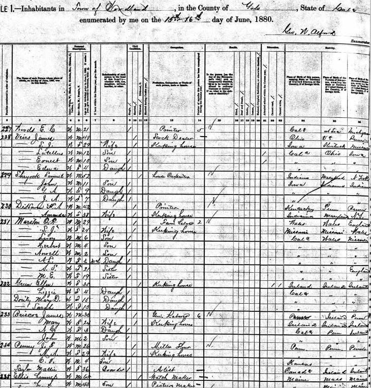 Lemuel Ellis 1880 census Woodland CA
